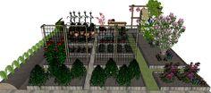 Final design sketch for layout allotment garden, keep it simple & practical. Definitief ontwerp Sketch-Up moestuin / volkstuin, hou het makkelijk en praktisch.