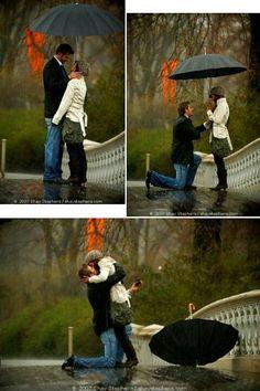 Awwe proposal in rain :) love