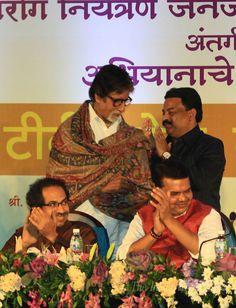 Amitabh Bachchan at an anti-tuberculosis event in Mumbai along with Shiv Sena Chief Uddhav Thackeray and Maharashtra Chief Minister Devendra Fadnavis. #Bollywood #Fashion #Style #Handsome