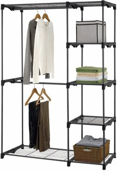 Delightful Double Rod Freestanding Closet Organizer, Silver