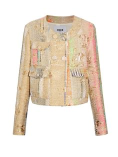 MSGM Double-breasted metallic-tweed jacket