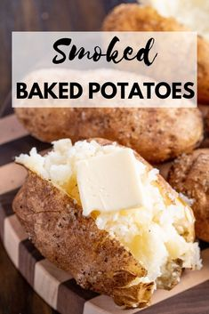 These Smoked Baked Potatoes are the fluffiest baked potatoes ever, with a perfec. - These Smoked Baked Potatoes are the fluffiest baked potatoes ever, with a perfect and flavorful ski - Smoker Grill Recipes, Smoker Cooking, Grilling Recipes, Electric Smoker Recipes, Smoker Cookbook, Bbq Cookbook, Bbq Meals, Barbecue Smoker, Barbecue Recipes