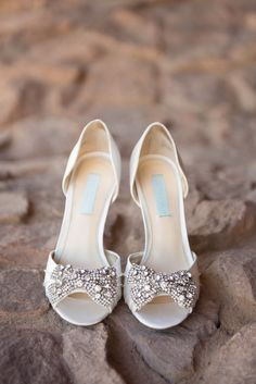 Ivory Embellished Peep Toe Bridal Heels | Amanda Marie Photography | Firerock Country Club | Nonny's Event Planning