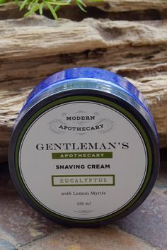 GENTLEMAN'S APOTHECARY SHAVING CREAM 250ML  Our very popular shaving cream.  Can be applied with or without a brush but most prefer the old fashioned way with a brush!  Coconut oil softens even the toughest beards.  Eucalyptus and Lemon Myrtle pure essential oil reduces bumps and redness.  The scent is uplifting, fresh and manly.   250 ml