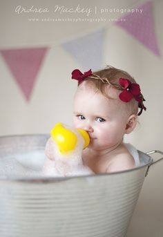 1st Birthday Session by Andrea Mackey. Love the tub and bubbles! via Flickr