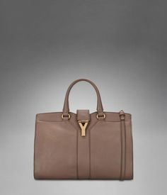 Small YSL Cabas Chyc with Strap in Beige Leather