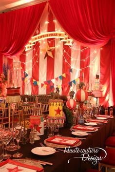 Vintage wedding backdrop reception style ideasYou can find Vintage circus party and more on our website. Decoration Cirque, Circus Party Decorations, Circus Carnival Party, Circus Theme Party, Carnival Wedding, Carnival Birthday Parties, Circus Birthday, Party Themes, Gala Themes