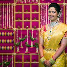 Yellow silk kanchipuram sari with contrast blouse.Braid with fresh flowers. Telugu Brides, Telugu Wedding, Saree Wedding, Bridal Sarees, South Indian Weddings, South Indian Bride, Wedding Stage Design, Hindu Bride, Indian Wedding Planning