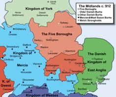 The Five Boroughs and the English Midlands in the early 10th century.