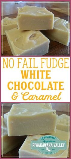 I admit I cannot make fudge, but this white chocolate and caramel no fail fudge works everytime! You gotta try it. Fudge Recipes, Candy Recipes, Dessert Recipes, Beginner Baking Recipes, Cooking Recipes, Beginner Cooking, Kitchen Recipes, White Chocolate Fudge, Chocolate Tarts