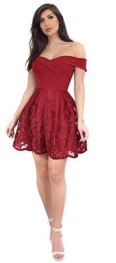 Velma Burgundy Off Shoulder Knit Crepe A-Line Dress