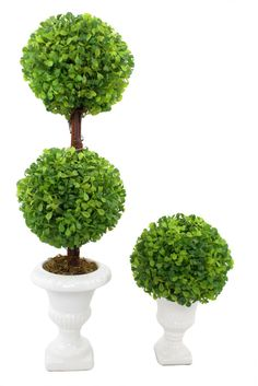 NWT Faux Topiary Trees In White Ceramic Urns www.TheConsignmentBag.com New items arrive daily and all ship Worldwide!