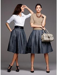 Long denim a-line skirt
