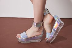 Vintage lase silver sandals transparent platform sandals,Slip on with ankle strap,Vegan faux leather