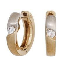 Creolen 585 Gold Gelbgold mattiert 2 Diamanten Brillanten Ohrringe A32122