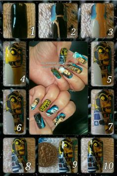 Star wars nail art with nail polish and acrylic paint! I hope, you enjoy them! Painted Nail Art, Hand Painted, Star Wars Nails, Disney Inspired Nails, 9 And 10, Acrylic Nails, Class Ring, Nail Polish, Facebook
