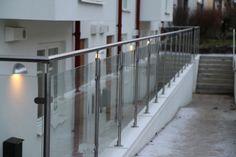 Glass railings with stainless steel handrails #railings #glass #madeinlatvia #beautiful  #rekkverk #glass  #rustfritt_stal