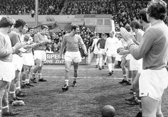 May 1st. 1971: At Bloomfield Road, Blackpool players give a guard of honour to club legend Jimmy Armfield before last game for the club against Manchester United.