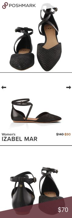 "NEW AZABEL MAR. Black This ladylike flat manages to be simultaneously sophisticated and sweet. Exotic scale-embossed suede forms a delicate almond toe, complemented by the veg tan leather heel and straps. With a whisper of a wedge, the Izabel Mar pairs well with all of your chic spring ensembles. 1/4"" stacked leather wrapped wedge with molded rubber heel and outsole with UGG® logo. UGG Shoes Flats & Loafers"