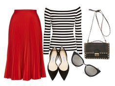 red pleated skirt with stripe top and black flats