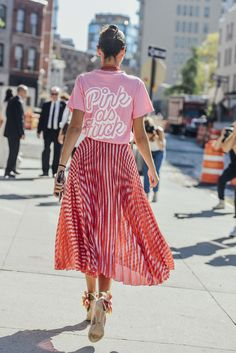 September 13, 2016 Tags Sunglasses, Red, Pink, Pleated, Beige, Stripes, Gucci, Giovanna Battaglia, Silver, Women, Prints, Metallic, Graphic Tees, High Heels, Skirts, Necklaces, T Shirts, New York, Beads, 1 Person, SS17 Women's, Brian Atwood