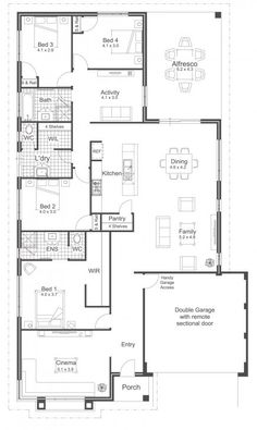 New house plans one story australian 50 ideas - Home Decor -DIY - IKEA- Before After House Plans One Story, Shop House Plans, New House Plans, Dream House Plans, Story House, Small House Plans, House Floor Plans, Home Building Design, Home Design Plans