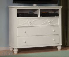 NEW SANIBEL BLACK or WHITE FINISH WOOD MEDIA TV STAND CHEST CONSOLE CABINET