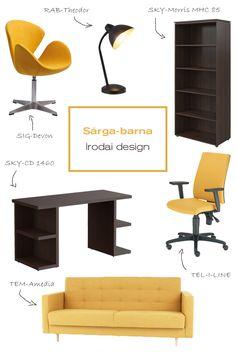 Ma a vidám színek kedvelőinek hoztunk egy iroda design ötletet. Egy ilyen színharmónikusan berendezett irodába, vagy dolgozószobába szívesen megy be az ember és a munka is biztosan jobban telik majd! #office#officedesign#ideas#officefurniture#sofa#chair#kanapé#ruhafogas#forgószék#íróasztal#desk#polc#shelf#iroda#irodadesign#irodabútor#íróasztalilámpa#yellow#sárga#barna#brown Ravenna, Chair, Furniture, Design, Home Decor, Bebe, Decoration Home, Room Decor