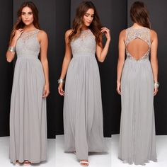 chiffon 2016 Cheap Grey Bridesmaid Dresses for Wedding Long Chiffon A-Line Backless Formal Dresses Party Lace Modest Maid Of Honor Dress