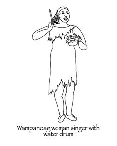 Thanksgiving Coloring pages Wampanoag hunter with bow and