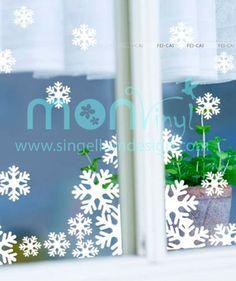 Copos de Nieve - Vinilo Adhesivo para vidrio, decoración de ventanas, Navidad. $23.263 COP. Encuentra más vinilos adhesivos en www.giferent.com/vinilos-decorativos-adhesivos