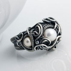 Size 7  Akoya Saltwater  Pearl  Ring Fine Silver by sarahndippity, $200.00
