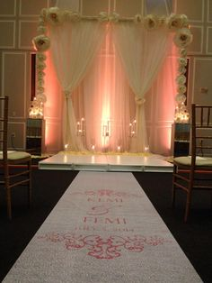 Kemi & Femi. Wedding Ceremony Backdrop. Samuel Riggs IV Alumni Center #weddingwonderland Amazing personalized aisle and ceremony backdrop