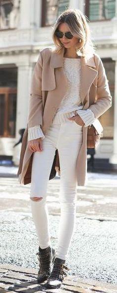 white denim. #neutrals. street style.