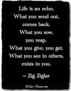 Life is an echo. Via http://feelingandloving.tumblr.com/