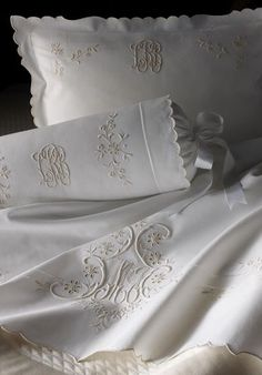 Splendid Sass: MONOGRAM IT! I treasure the linens my grandmother embroidered. They make any room/bed look elegant.