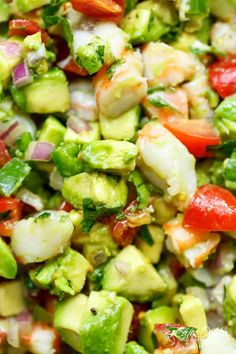 Chunky Shrimp Guacamole is easy to make, and ready in minutes!Always a hit with whoever we serve it to, this guac is perfect as an appetizer, or just for everyday lunches and snacks! Cooked Shrimp Recipes, Cooking Recipes, Healthy Recipes, Bariatric Recipes, Avocado Recipes, Shrimp Appetizers, Appetizer Recipes, Shrimp Dishes, Best Guacamole Recipe