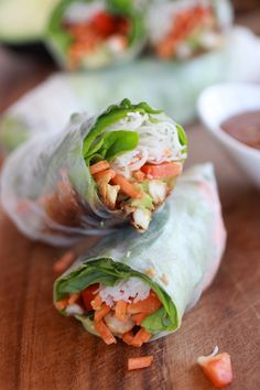 Non-Fried Springs Rolls with Vietnamese Chicken and Avocados Recipe