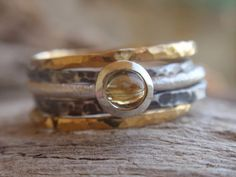 Yes, please. I love this etsy designer's rustic hammered stacking rings.