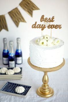 The Whimsical Wedding Cake Topper - Best Day Ever - Gold
