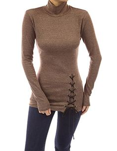 0ee91f1f83 PattyBoutik Women s Turtleneck Lace Up Tunic (Heather Brown S) PattyBoutik  http