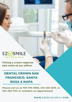 With the help of advanced technology, Dental Crown in San Francisco, Santa Rosa & Napa have become one of the most suitable solutions for damaged, stained and misaligned teeth. Make your first visit to EZ Smile Family Dental Group. Family Dental Care, Dental Group, Temporary Crown, Misaligned Teeth, Porcelain Crowns, Dental Fillings, Dental Crowns, Best Dentist, Dental Problems