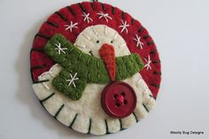 Classic Christmas Red and Green Wool Felt by WoollyBugDesigns