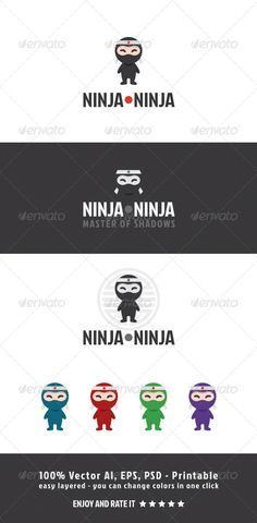 Buy Ninja Ninja by ManuDesign on GraphicRiver. Ninja Ninja is funny and simple logo mascot Vector AI, PSD and EPS file included layered – printable – simple to. Logo Design Template, Logo Templates, Cool Face, Face Fun, Ninja, Kids Stationery, Black Characters, Employee Engagement, Cute Faces