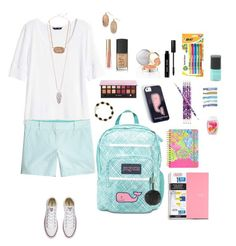 """""""Day 2: Thursday: first day of school"""" by oliviacat1215 ❤ liked on Polyvore featuring H&M, J.Crew, Converse, JanSport, Kendra Scott, Too Faced Cosmetics, NARS Cosmetics, Anastasia Beverly Hills, Lilly Pulitzer and Vera Bradley"""
