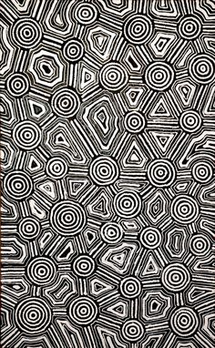 Sarah White NAPURRURLA_Janmarda Jukurrpa (Bush Onion Dreaming)_Australian Aboriginal art #Artaborigene #aboriginalart #australianart #artaustralien #indigenous #Napurrurla #yuendumu #Black #White #Circles