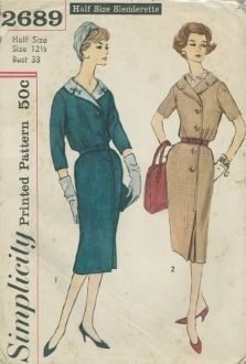 An unused original ca. 1958 Simplicity Pattern 2689.  Half Size Slenderette - Misses' and Women's One-Piece Dress: Dress features lapel collar, set-in sleeves, kick pleat below the side front button closing and top-stitching. Self or purchased belt may be worn. V. 1 features a contrast collar and bows.