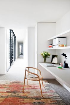 Robson Rak Architects turned a portion of the corridor into a handy office space. Cozy Home Office, Home Office Space, Home Office Decor, Home Decor, Office Ideas, Desk Ideas, Office Nook, Office Spaces, Small Office
