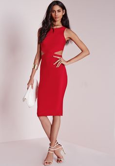 Missguided - Crepe Sleeveless Cut Out Midi Dress Red