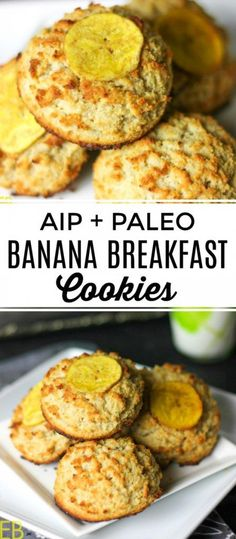AIP and Paleo Banana Breakfast Cookies are a super popular recipe :) because they're great! easy to make! and perfect for breakfast lunches snacks or dessert. High protein and egg-free nut-free grain-free dairy-free. Paleo Recipes, Real Food Recipes, Paleo Food, Banana Recipes, Banana Snacks, Protein Recipes, Cooking Recipes, Paleo Meals, Food Tips